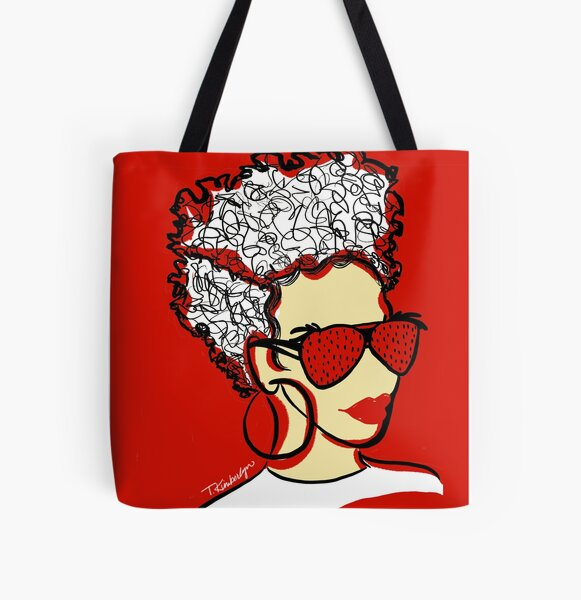 Strawberry Lady- Red All Over Print Tote Bag