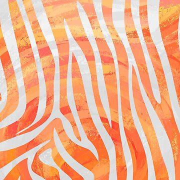 Zebra Orange and White Print de ImagineThatNYC