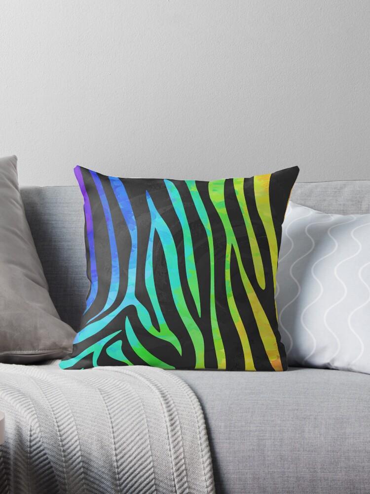 Zebra Schwarz und Regenbogen Print von ImagineThatNYC