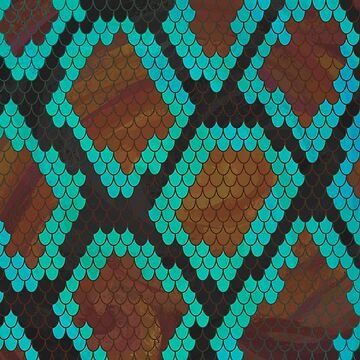 Serpiente Marrón y Teal Imprimir de ImagineThatNYC