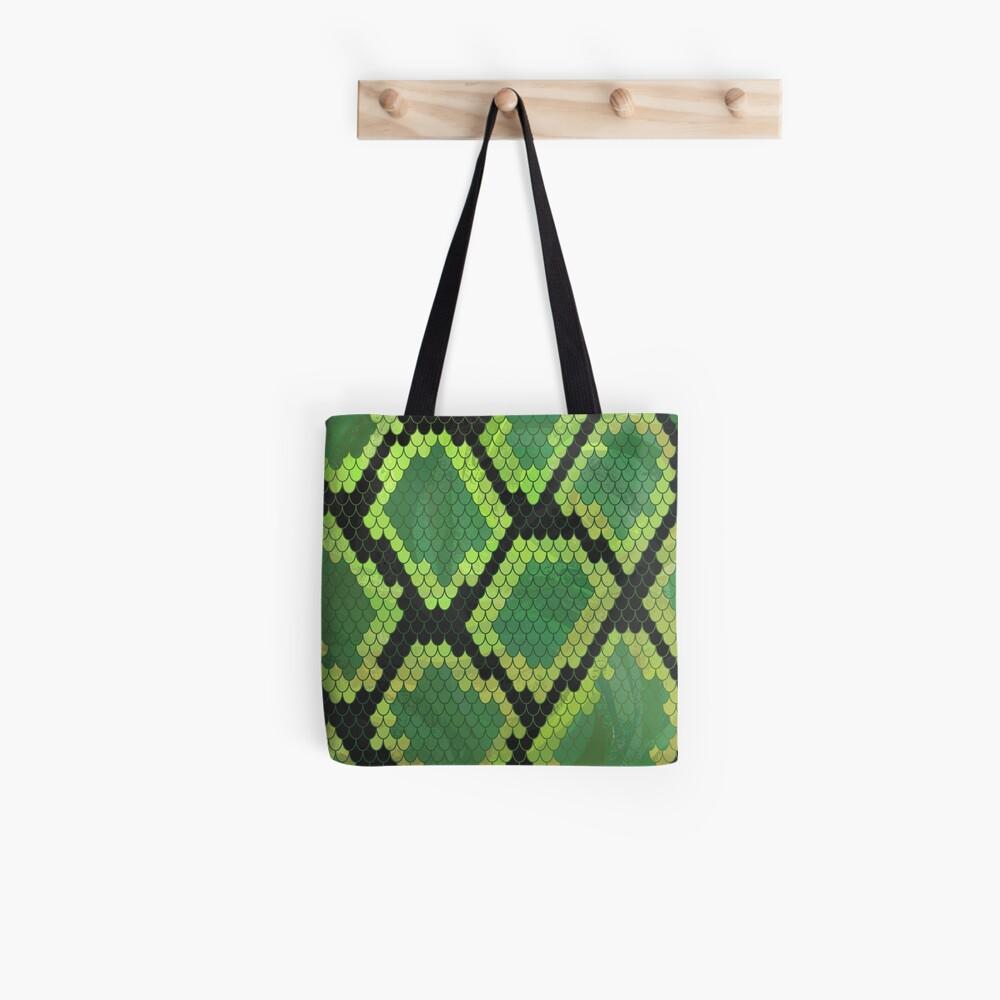 Snake Black and Green Print Bolsa de tela
