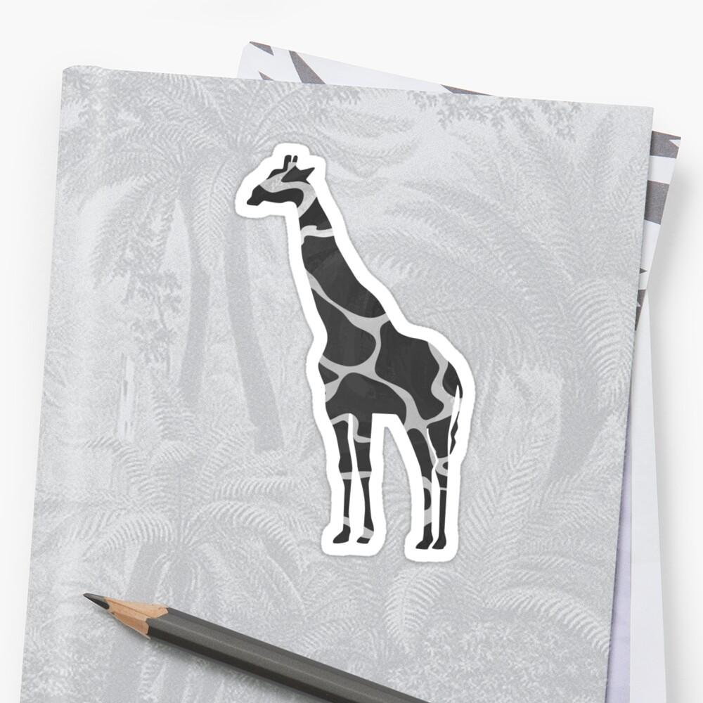 Giraffe Black and Light Gray Print Pegatina