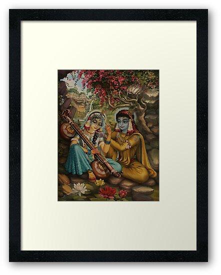 Radha playing vina by Vrindavan Das
