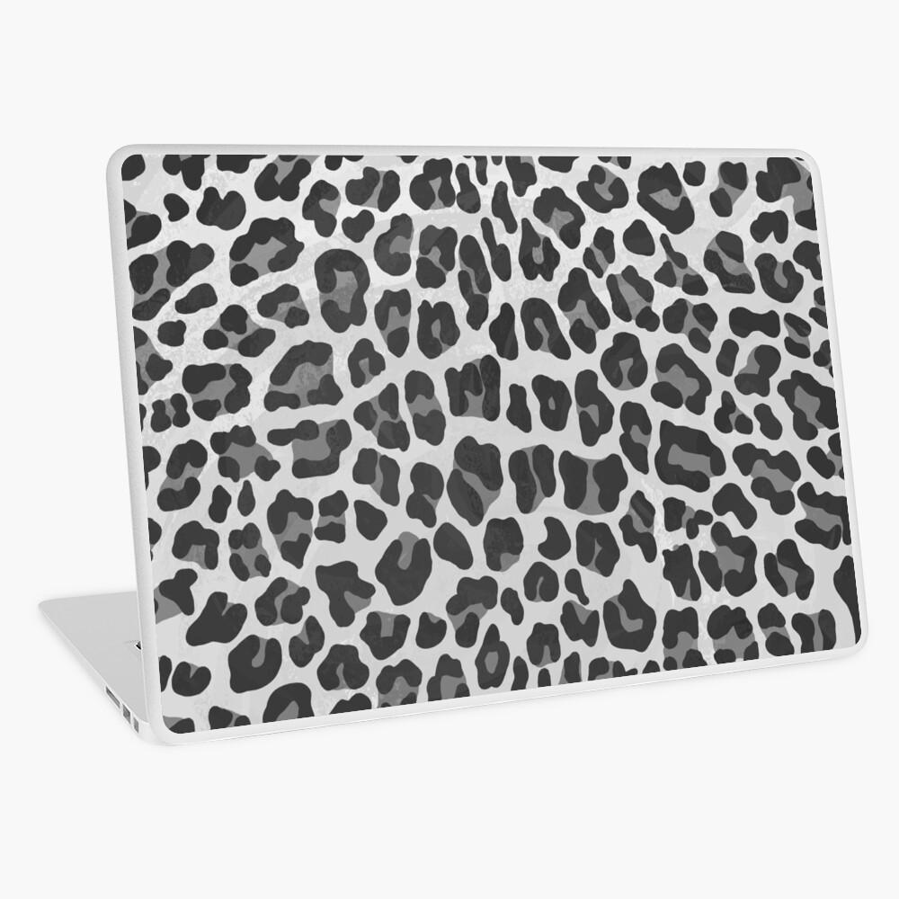 Leopard Gray and Light Gray Print Laptop Skin