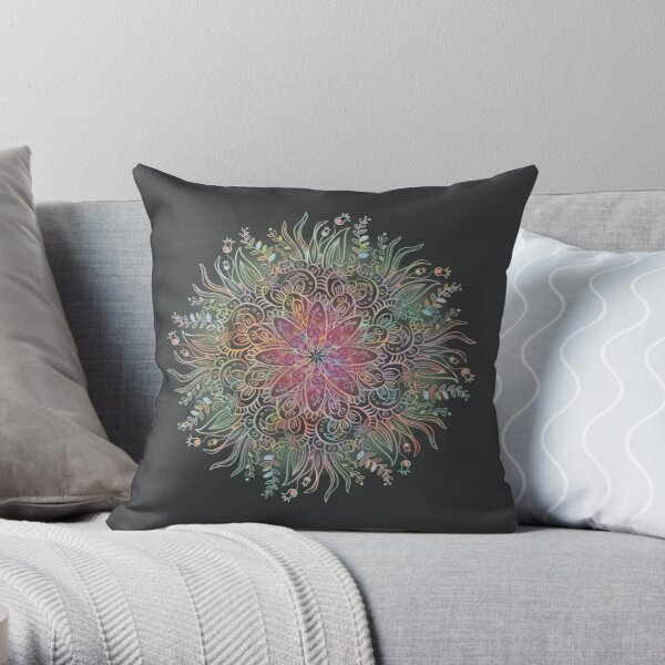 Ready for Spring Mandala Charcoal Throw Pillow