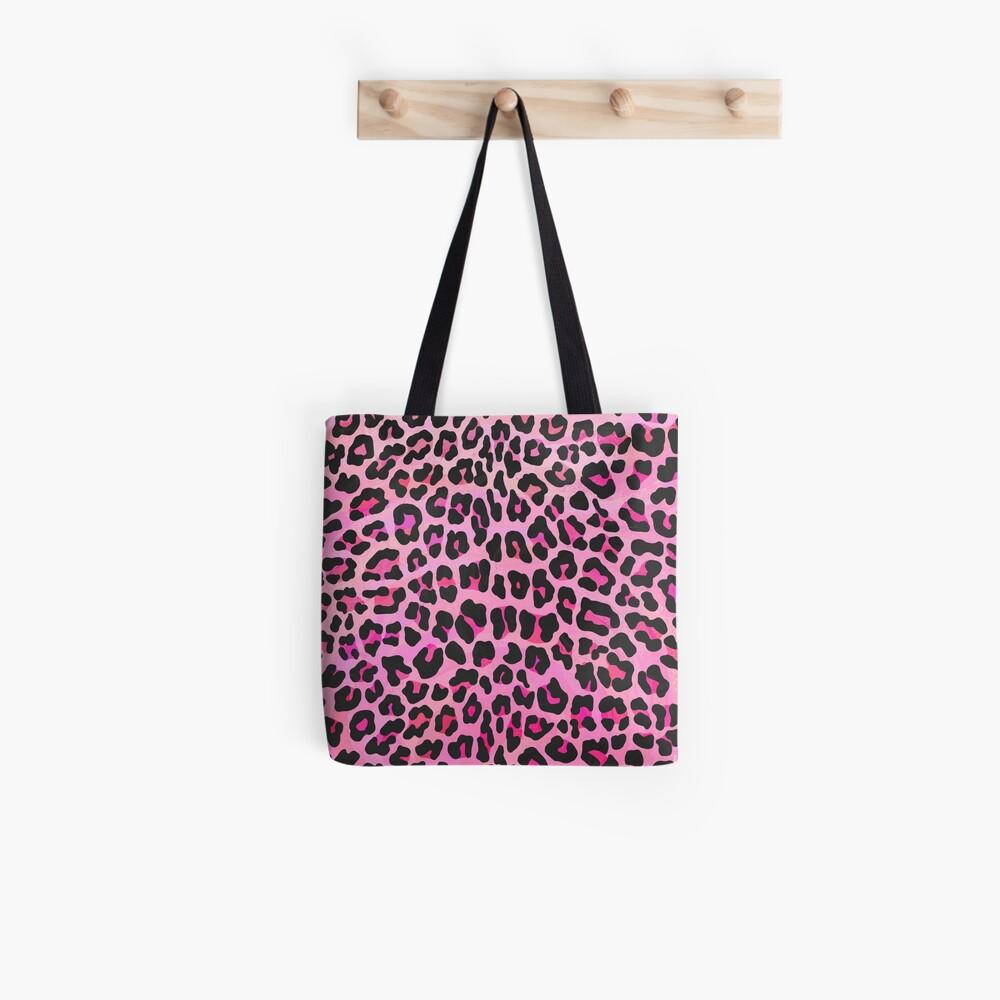 Leopard Black and Hot Pink Print Bolsa de tela
