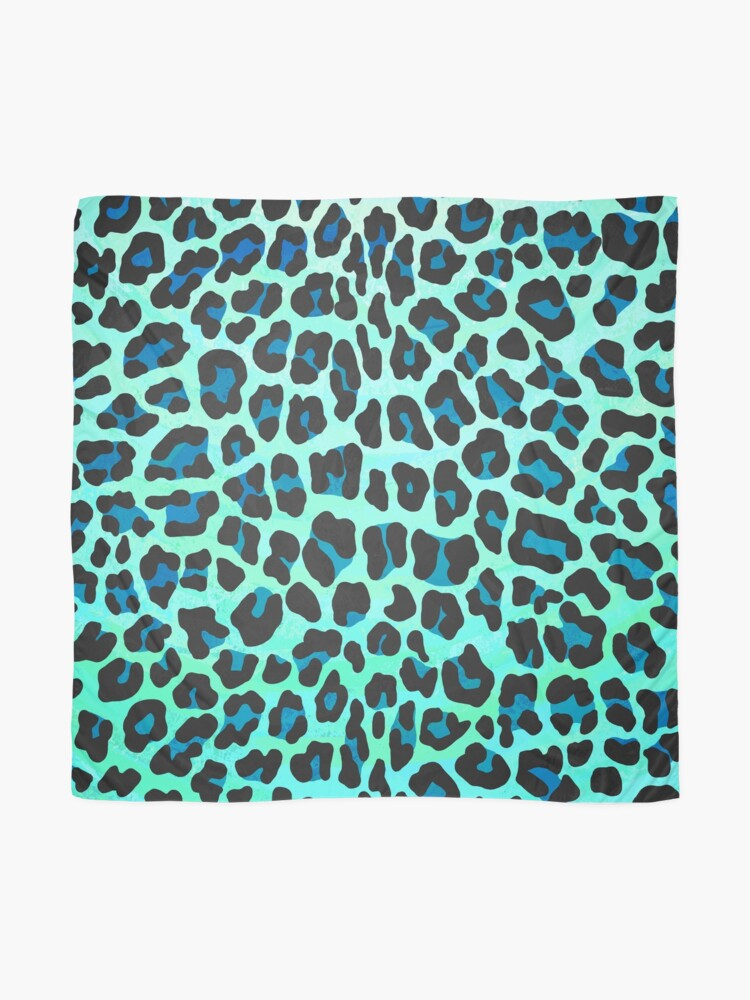 Vista alternativa de Pañuelo Leopard Black and Teal Print