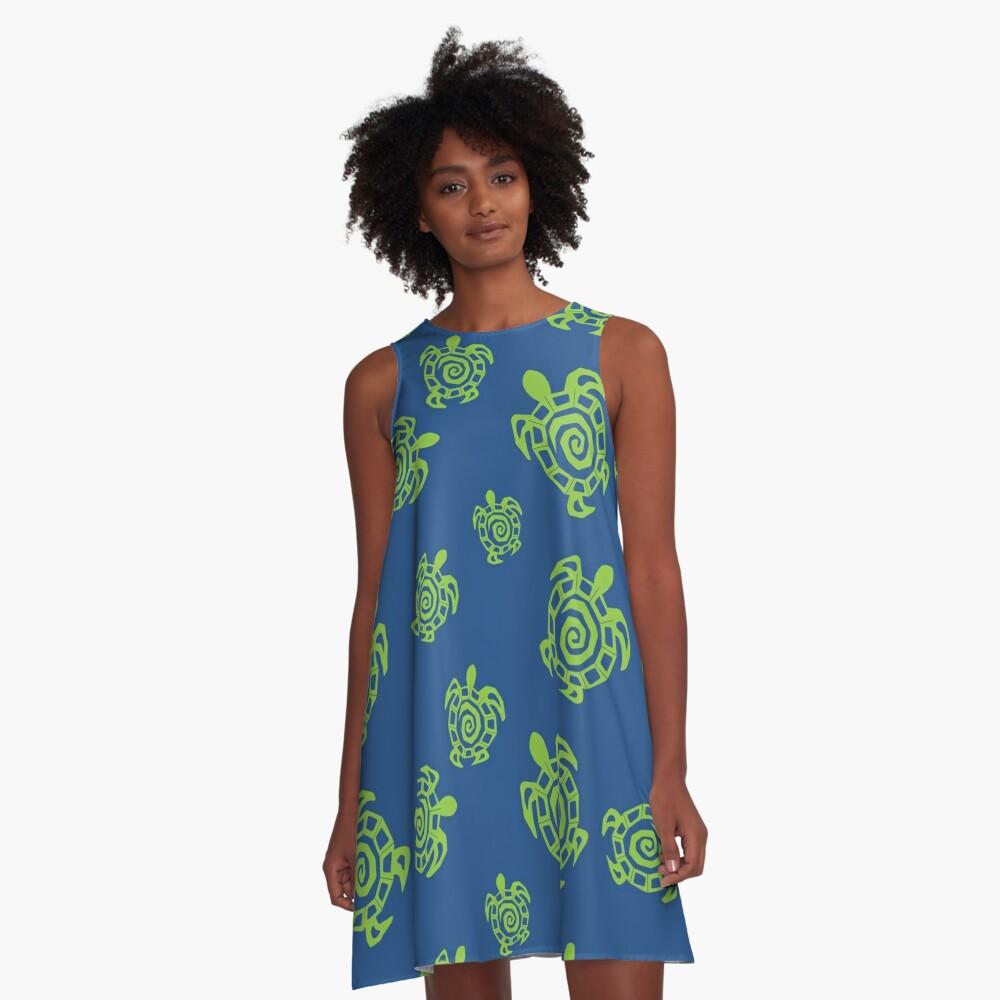 Tortuga verde y azul impresión Vestido acampanado