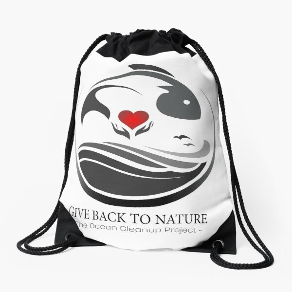Give Back to Nature - The Ocean Clean Up Project Drawstring Bag