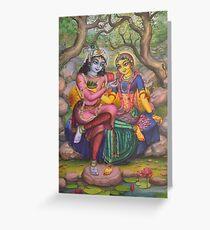 Radha and Krishna on Govardhan Greeting Card