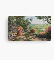 Radha and Krishna on Govardhan hill Canvas Print