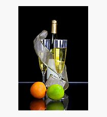 Two champagne glasses and bottle Photographic Print