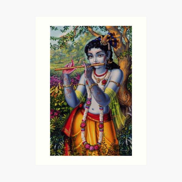 Krishna with flute Art Print