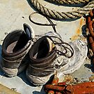 Muddy Work boots, rope & rusty Chain by David Carton