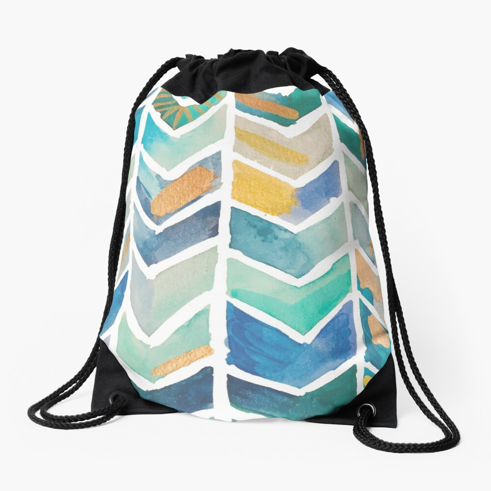 Freehand Watercolor Chevron Pattern Drawstring Bag