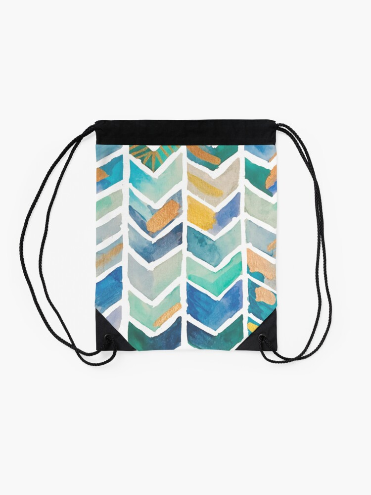 Alternate view of Freehand Watercolor Chevron Pattern Drawstring Bag