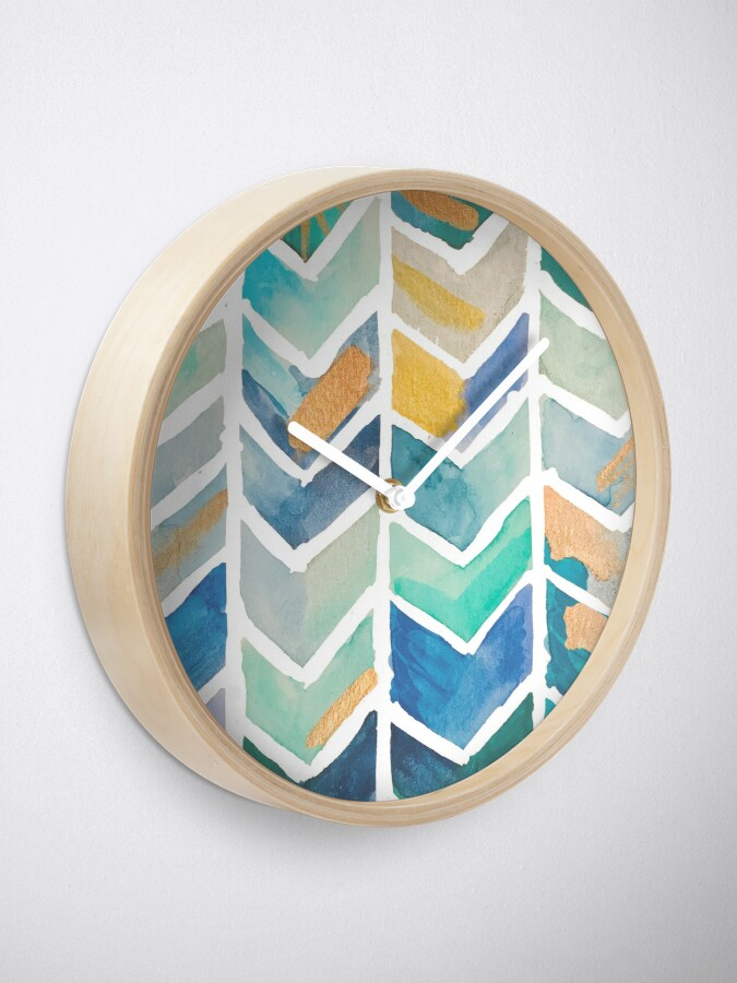 Alternate view of Freehand Watercolor Chevron Pattern Clock