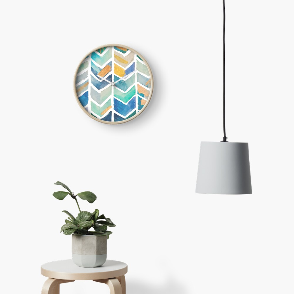 Freehand Watercolor Chevron Pattern Clock