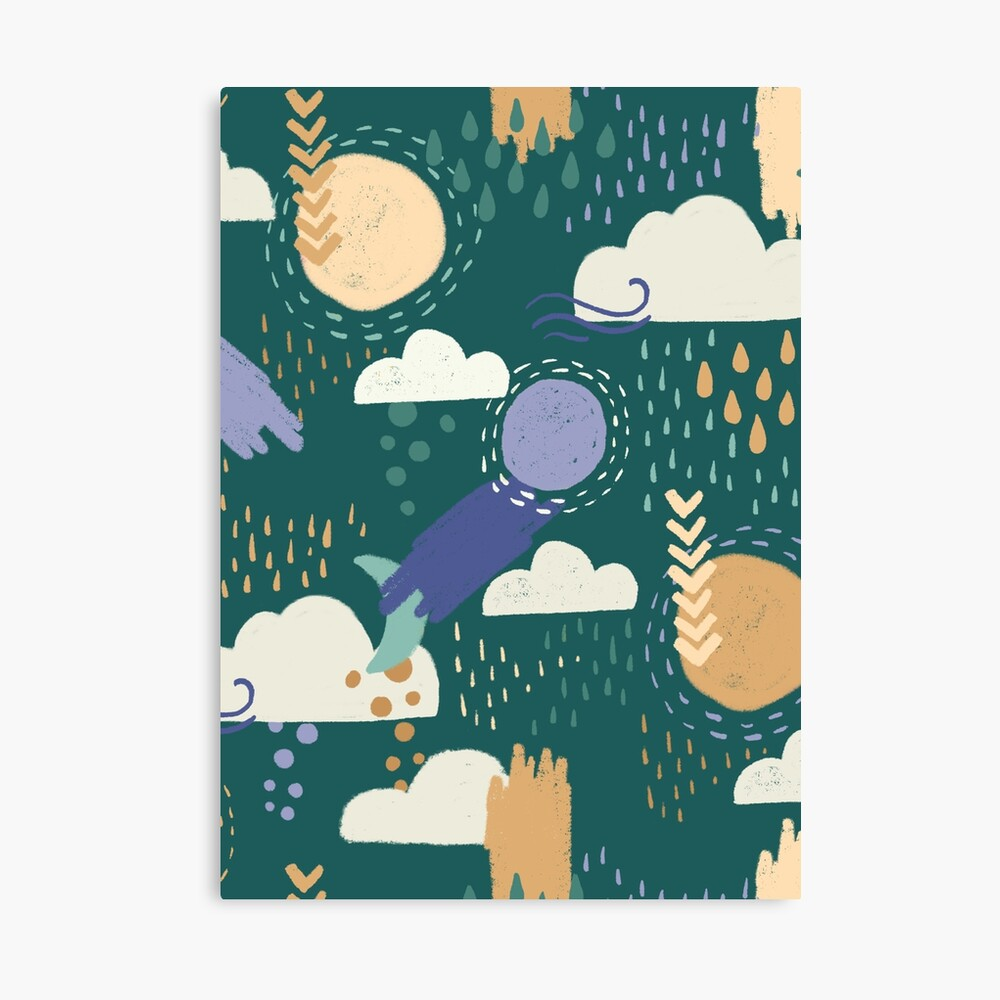 Abstract Weather - Teal Canvas Print