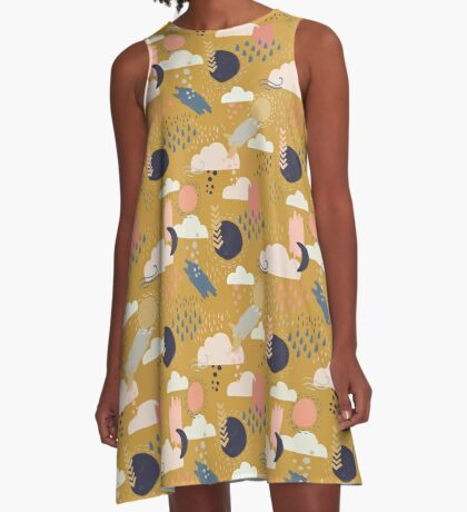 Abstract Weather - Gold A-Line Dress