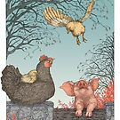 Farm animals - first flight, hen, chicks and piggy, full color by martasketches