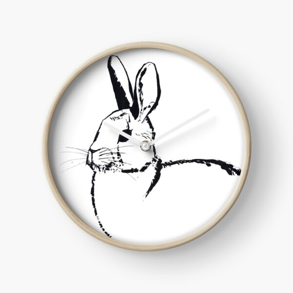 Steel Brush Rabbit Ink Portrait Clock