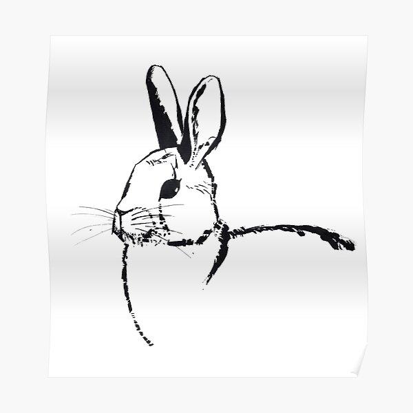 Steel Brush Rabbit Ink Portrait Poster