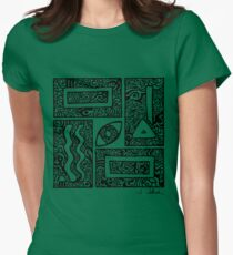 Eye, Square, Triangle (black design) Women's Fitted T-Shirt