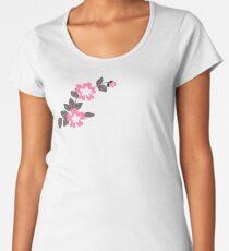 Blumenmuster - Pink Premium Rundhals-Shirt