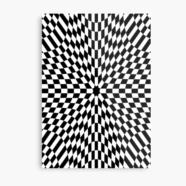 #Op #art #optical #visual #illusions abstract black white movement hidden images flashing vibrating patterns swelling warping pattern design textile illustration decoration square repetition shape Metal Print