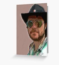 Black hat reflections Greeting Card