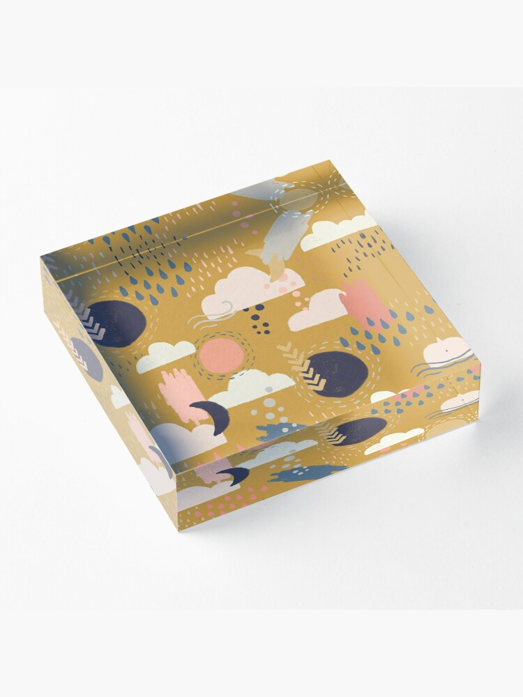 Alternate view of Abstract Weather - Gold Acrylic Block