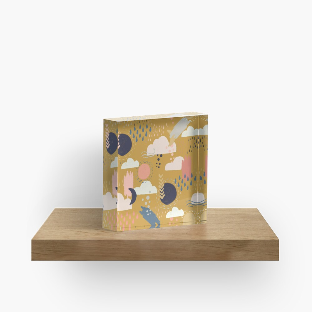 Abstract Weather - Gold Acrylic Block