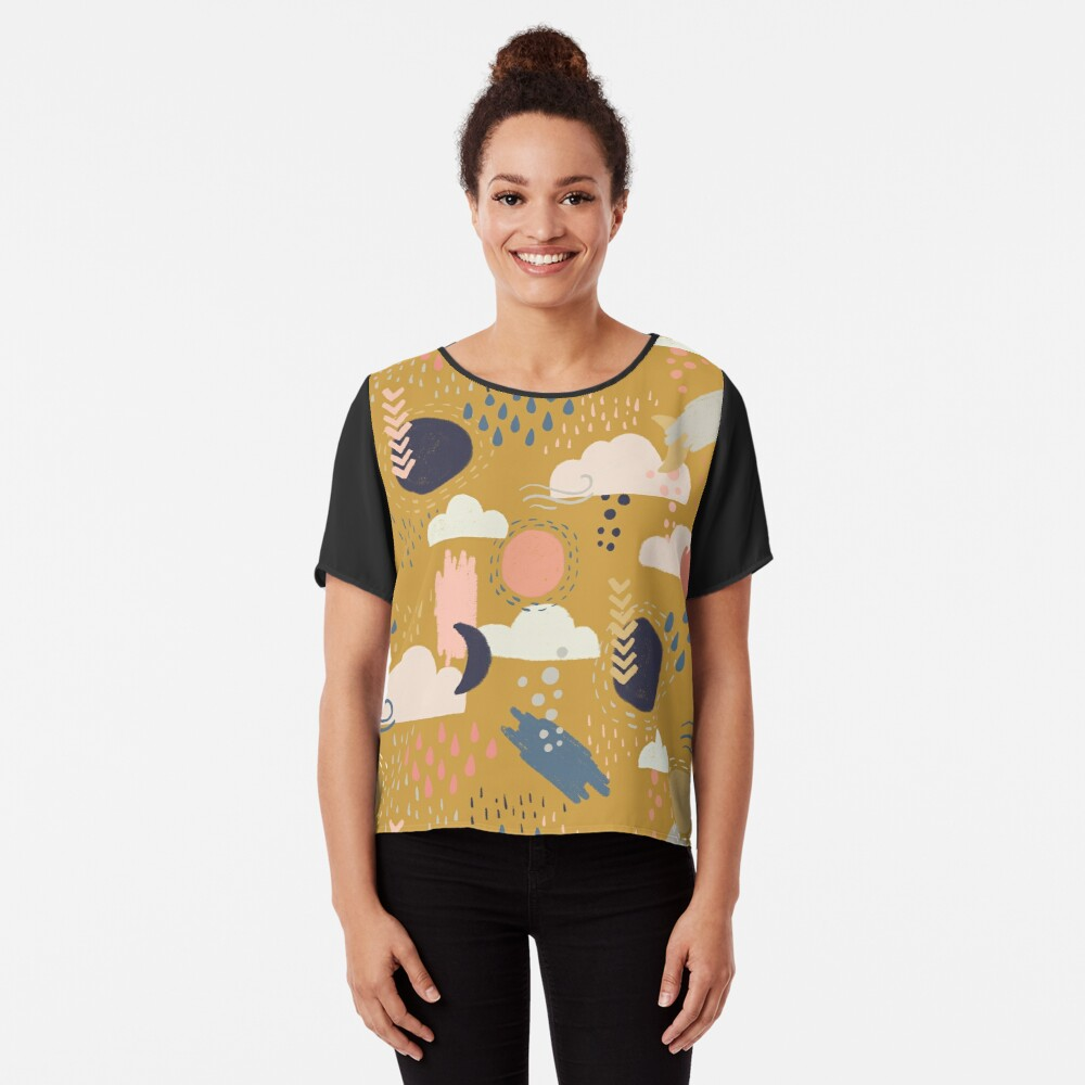 Abstract Weather - Gold Chiffon Top