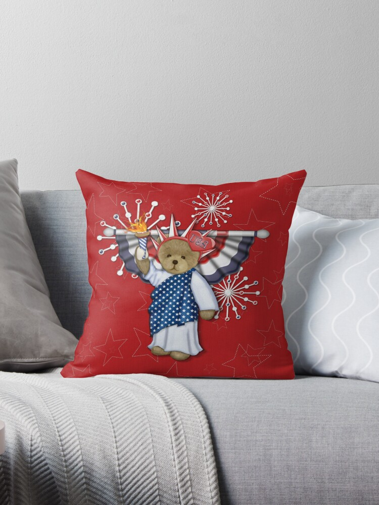 Patriotic Liberty Bear on Red by SpiceTree