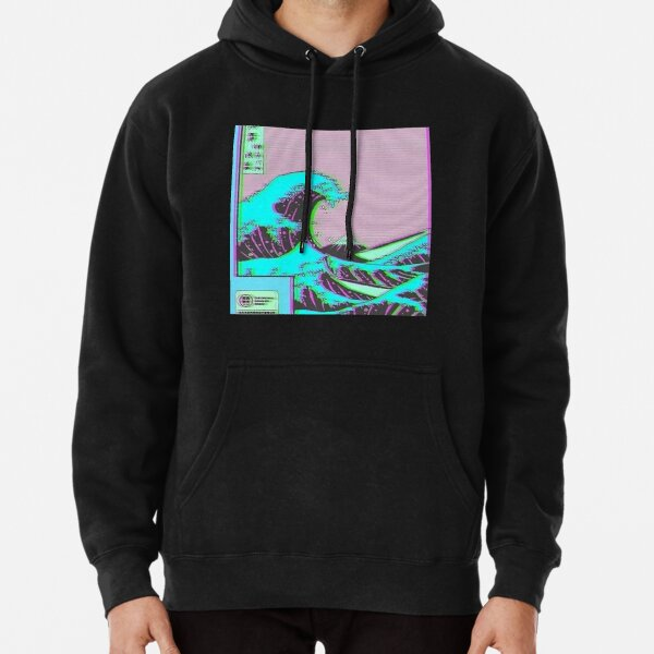 The Great Wave off Vaporwave Kanagawa Pullover Hoodie
