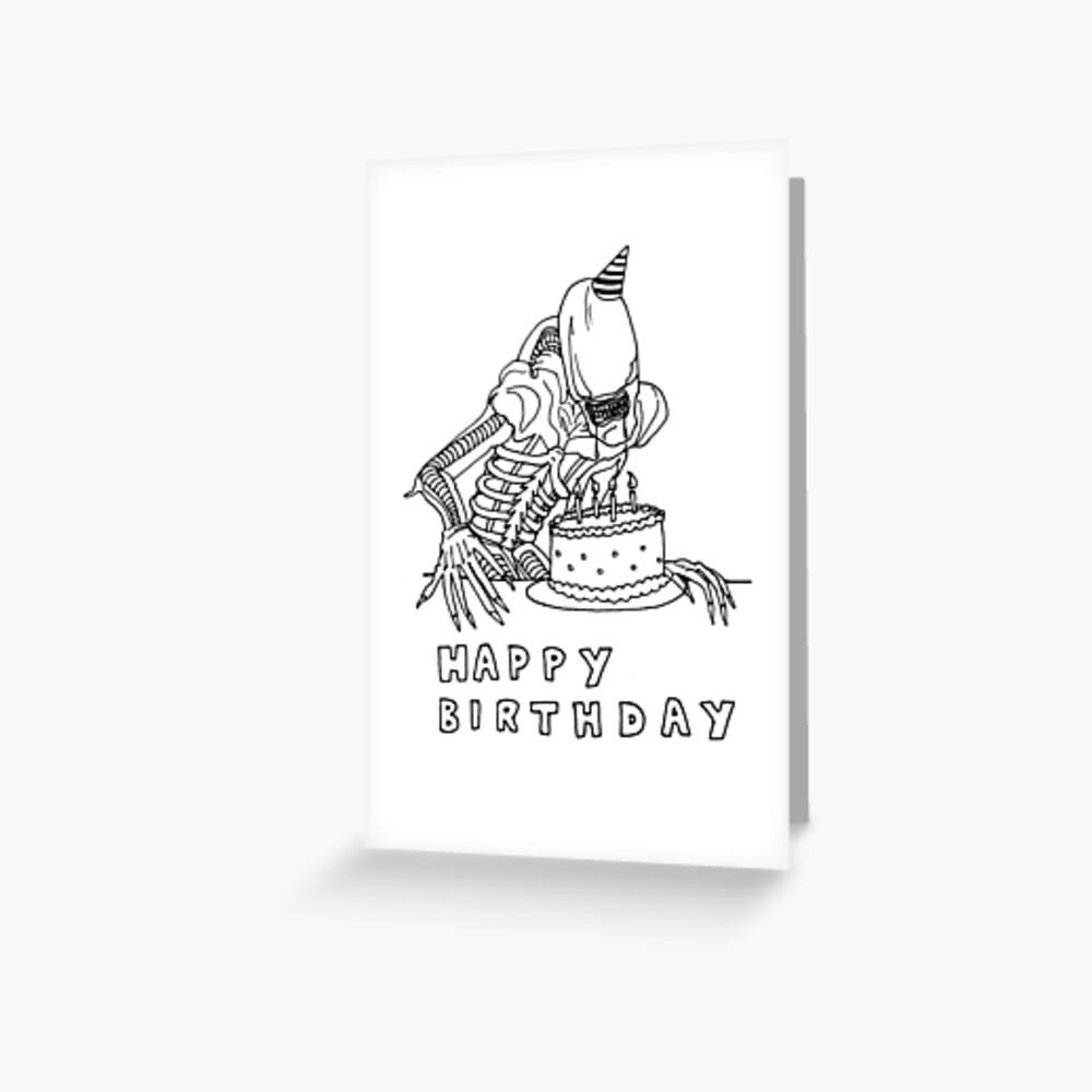 Xenomorph birthday card Greeting Card