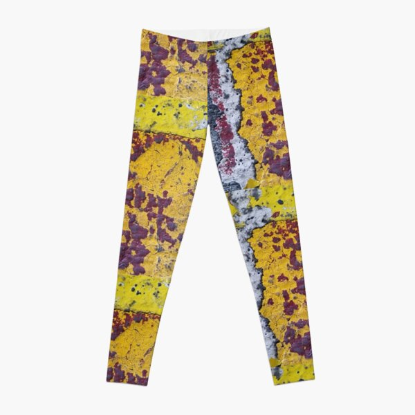 Maroon, Yellow, Gold, and White Abstract Urban Texture Leggings