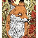 Forest friends - fox, art nouveau style by martasketches
