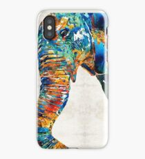 Colorful Elephant Art by Sharon Cummings iPhone Case