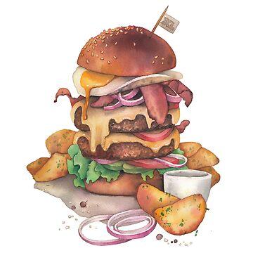 Huge watercolor burger with idaho potatoes as a garnish by Glazkova