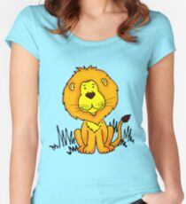 Cute Little Lion graphic drawing Women's Fitted Scoop T-Shirt