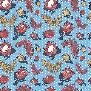 Australian Native Floral Pattern - Grevillea and King Protea by annaleebeer