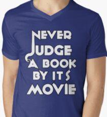 Never Judge A Book By Its Movie - White Mens V-Neck T-Shirt