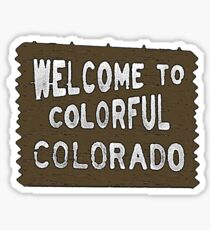 Colorful Colorado wood welcome sign Sticker