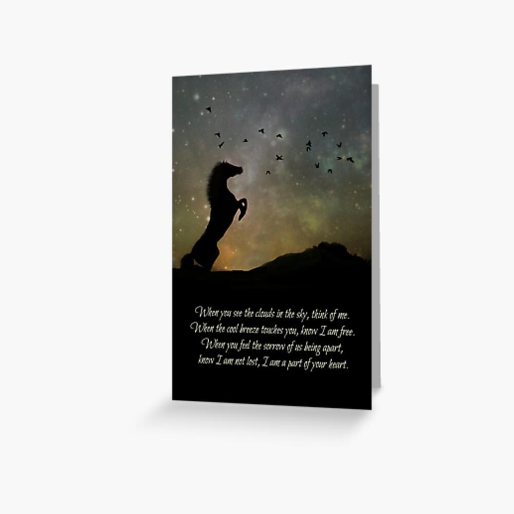 Pferd pferdeartige Sympathiekunst und Gedicht Grußkarte