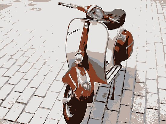 Vespa Scooter in Brown by Michael Tompsett
