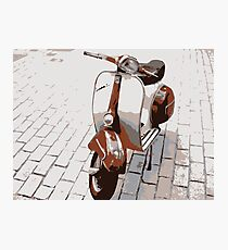 Vespa Scooter in Brown Photographic Print