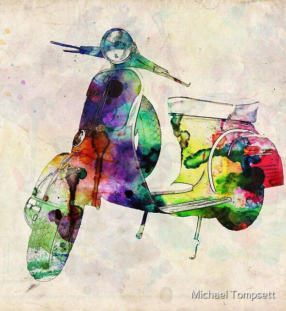 Vespa Scooter Urban Art by Michael Tompsett