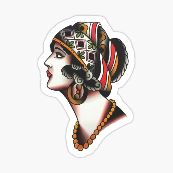 Traditional Lady Face Tattoo Design Sticker
